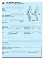 THORACIC SPINE ASSESSMENT FORMS PAD, 50/PAD