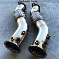 "BMW 335D Downpipe - 3.5"" - Unobtainium (UTW-2) - side by side"