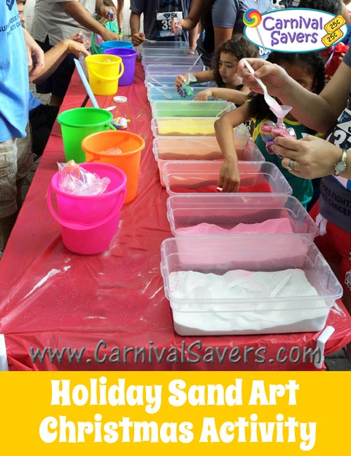 Winter or christmas carnival activity sand art fun for Christmas themed activities for kids