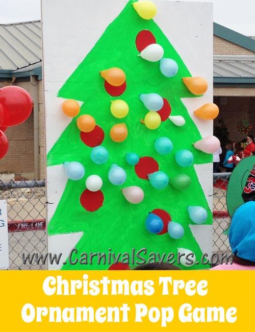 Christmas tree ornament balloon pop fun carnival game