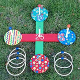 Colorful Wooden Ringtoss Game + 5 Rope Rings