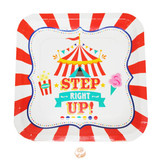 Carnival Party Themed Paper Dinner Plates - Square Shaped