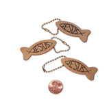 "Wooden ""Jesus"" Fish Key Chains"