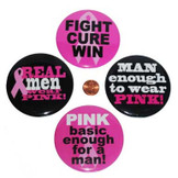 Pink Ribbon Metal Buttons for Men (48 total buttons in 2 bags) 27¢ each
