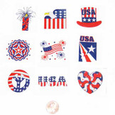 Glitter Patriotic Temporary Tattoos (216 total Tattoos) 5¢ each