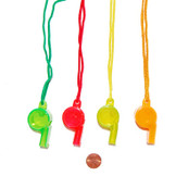 Bright Plastic Whistles on a Rope