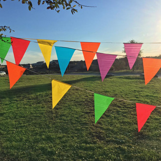 Plastic Flags on a Rope - Multi-Colored Pennant Banner