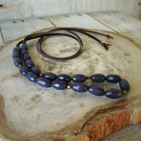 Denim Quartz Beaded Necklace