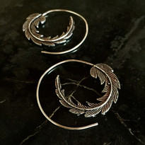 Feather Hoop Earrings in Silver