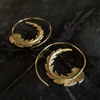 Feather Earrings in Brass