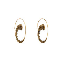 Feather Hoop Earrings in Brass
