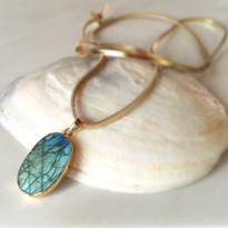 Libi Labradorite Pendant Necklace on Leather