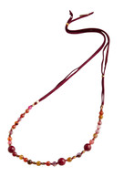 Dahlia Beaded Necklace with Ruby Red Agate