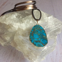 Marble Agate Oval Pendant Necklace on Leather