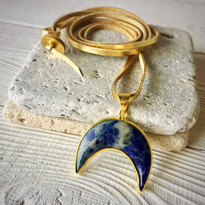 Crescent Moon Pendant Necklace on Leather
