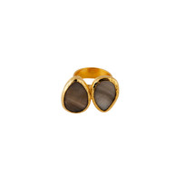 Bold Double Stone Ring with Gray Mother of Pearl