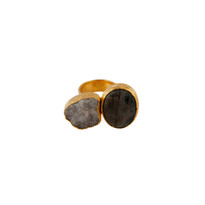Bold Double Stone Ring with Druzy Quartz and Labradorite