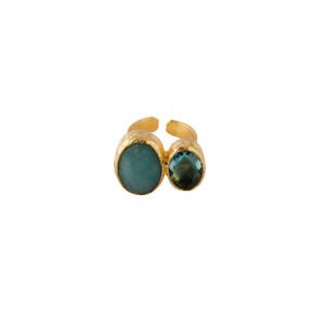 Bold Double Stone Ring with Aqua Agate and Aqua Quartz
