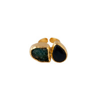 Bold Double Stone Ring with Aqua Druzy Quartz and Navy Agate