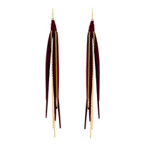 Tassle & Chain Earrings In Vino and Gold