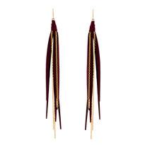 Tassle & Chain Earrings In Vino and Gold