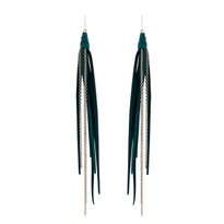 Tassle & Chain Earrings In Emerald and Silver