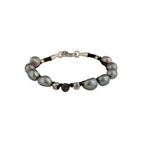 Macrame and Grey Freshwater Pearl Bracelet