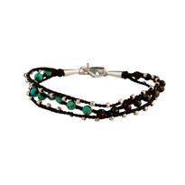 Laguna Turquoise and Pyrite Macrame Bracelet