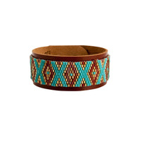 Taos Turquoise & Whiskey Beaded Cuff