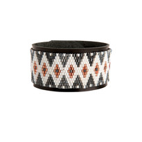 Taos Black & White Beaded Cuff