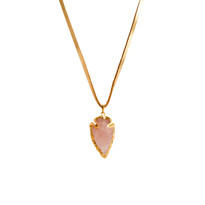 Rose Quartz Arrowhead Necklace in Gold