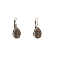 Mantra Teardrop Earrings With Mother of Pearl in Silver