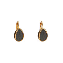 Mantra Teardrop Earrings With Mother of Pearl in Gold