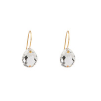 Teardrop earrings in gold featuring faceted Quartz.