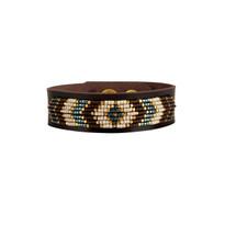 Drifter Beaded Leather Bracelet in Peacock