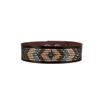 Drifter Beaded Leather Bracelet in Mauve