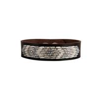 Drifter Beaded Leather Bracelet in Grey