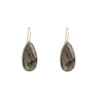 Elsa Long Drop Earrings In Labradorite and Silver