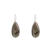 Elsa Long Drop Earrings In Labradorite and Silver