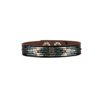 Cassia Beaded Leather Bracelet in Blue