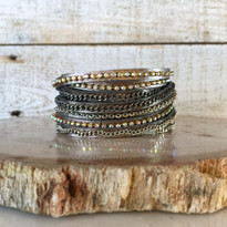 Mixed Media Wrap Bracelet In Crystal & Gunmetal