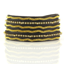 Crystal & Gold Chain Wrap Bracelet In Chocolate