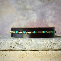 Rowan Beaded Bracelet In Chocolate and Turquoise