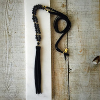 Beaded Tassel Necklace with Black Lava Rock