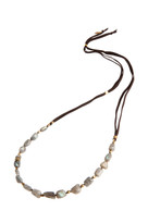 Labradorite Love Beaded Necklace Polished with Freshwater Pearl