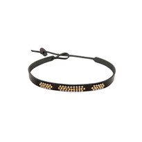 Canyon Beaded Leather Choker in Black