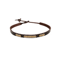 Canyon Beaded Leather Choker in Chocolate
