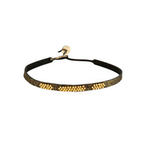 Canyon Beaded Leather Choker in Black Shimmer