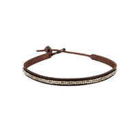 Melody Beaded Leather Choker in Chocolate