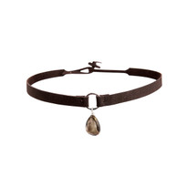 Smokey Quartz Gemstone Suede Choker